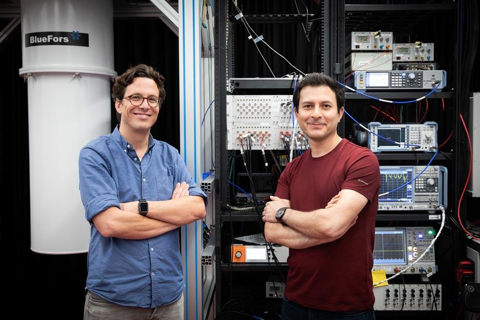 IST Austria Physicists - Shabir Barzanjeh (lead author) Johannes Fink (Group leader and co-author). © IST Austria/Anna Stöcher
