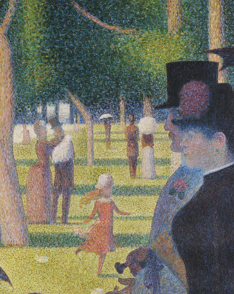"""A Sunday on La Grande Jatte"" (1884-1886). Georges-Pierre Seurat pioneered the pointillist painting technique, which has served as inspiration for neuroscientists using single-cell technologies as it illustrates how complexity can arise from a collection of small spots or cells. Here, the mothers, fathers, and children in the picture represent the maternal and paternal influence on cortex development. The image is composed mainly of green and red spots, which represent MADM labelled cells that were used in the analysis and reflects the growth disadvantage of astrocytes observed in this study (more green than red spots). Credit: The Art Institute of Chicago"