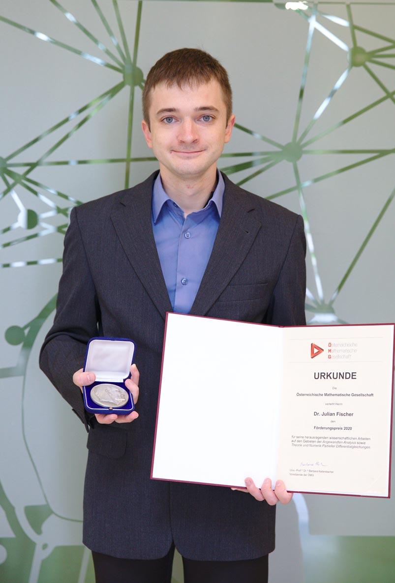 IST Austria Professor Julian Fischer wins Förderungspreis of the Austrian Mathematical society