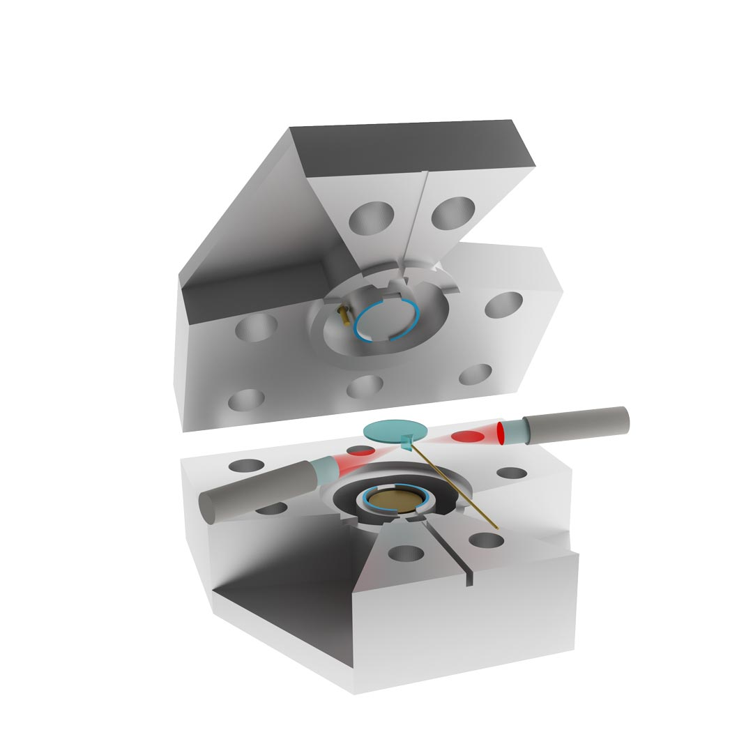 This picture shows exploded-view rendering of the electro-optic converter. The lithium niobate resonator (light blue disc) is clamped between two aluminum rings (blue shaded areas) belonging to the top and bottom parts of an aluminum microwave cavity, respectively. Two lenses are used to focus the optical input and output beams (red) on a diamond prism surface in close proximity to the optical resonator. The microwave tone is coupled in and out of the cavity using a coaxial pin coupler at the top of the cavity (gold). © Rishabh Sahu / IST Austria