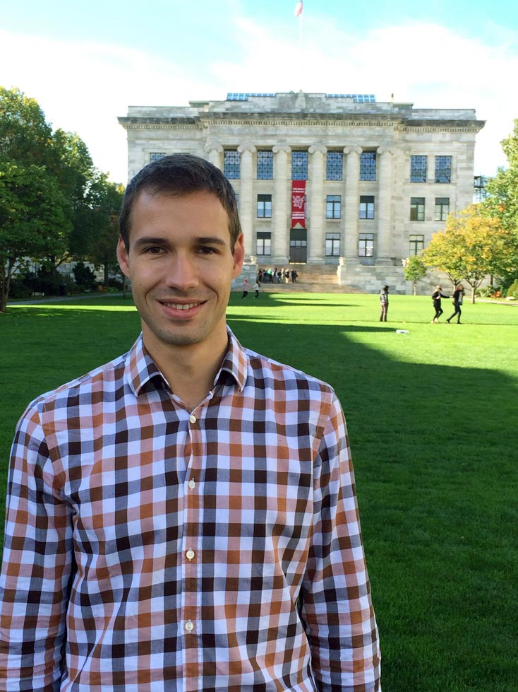 Johannes Reiter standing in front of the Harvard Medical School