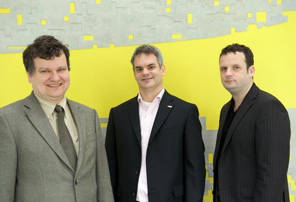 Three panel members from left: T. Henzinger, R. Bloem, H. Veith.