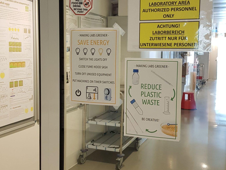Greener Labs Bewusstsein schaffen mit Hinweisschildern IST Austria