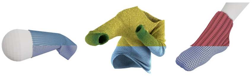 The new method animates knitted yarn fabric in real-time using precomputed physical simulations of yarn patterns. © IST Austria